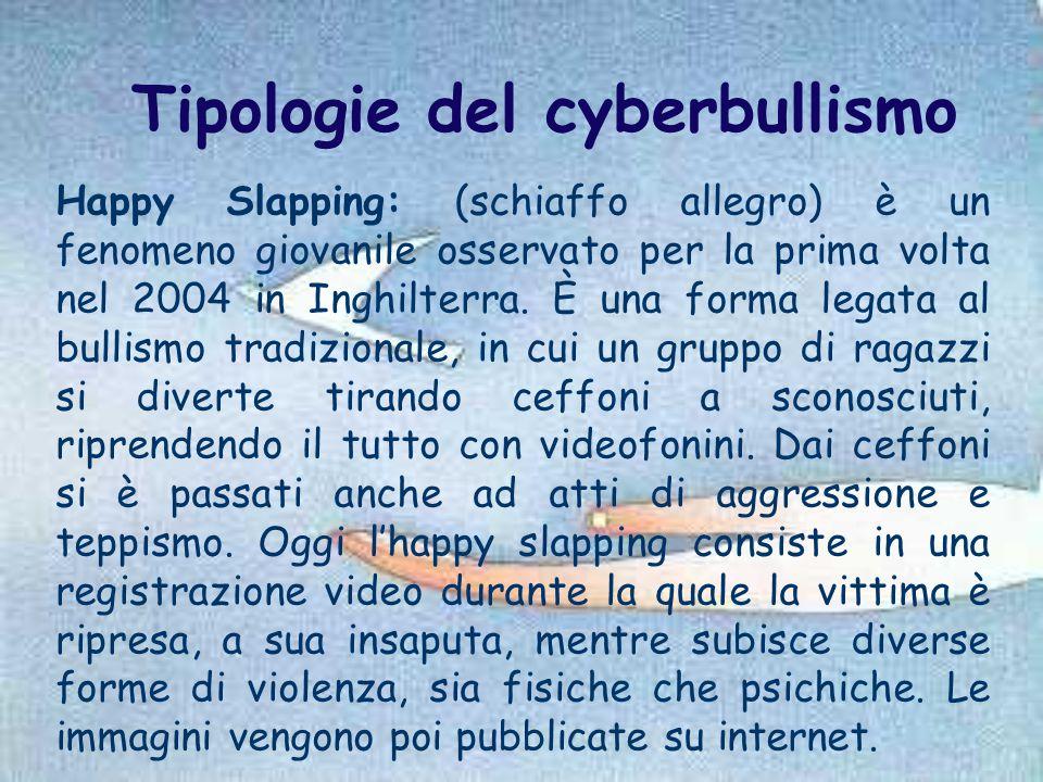Tipologie del cyberbullismo Happy Slapping: (schiaffo allegro) è un fenomeno giovanile osservato per la prima volta nel 2004 in Inghilterra. È una for
