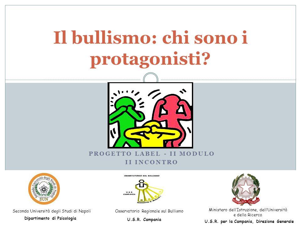PROGETTO LABEL - II MODULO II INCONTRO Il bullismo: chi sono i protagonisti? Seconda Università degli Studi di Napoli Dipartimento di Psicologia Osser