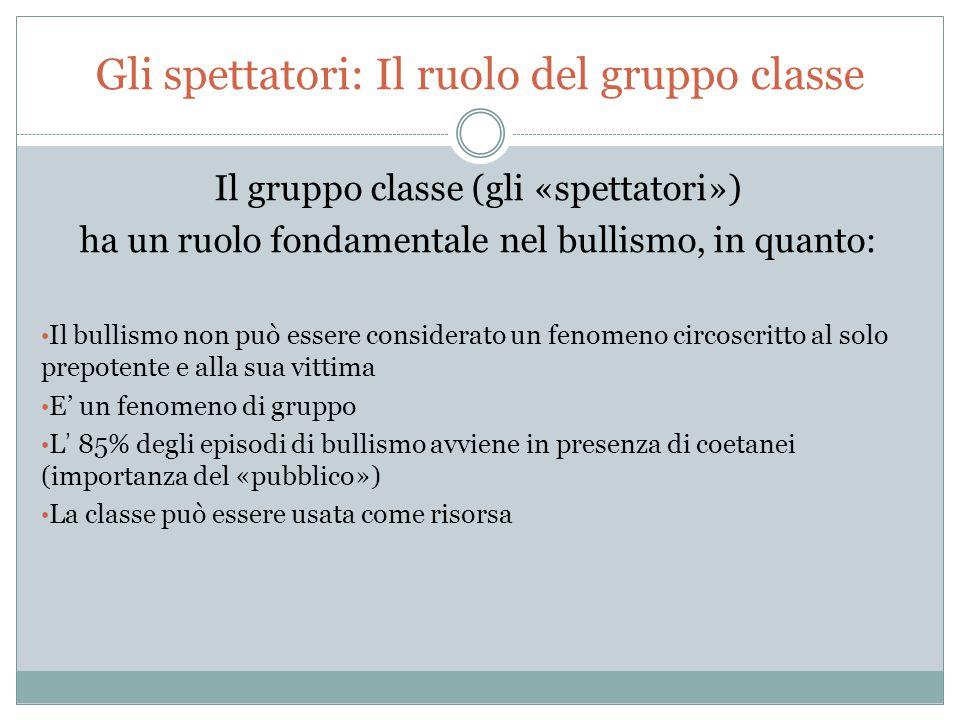 Gli spettatori: Il ruolo del gruppo classe Il gruppo classe (gli «spettatori») ha un ruolo fondamentale nel bullismo, in quanto: Il bullismo non può e