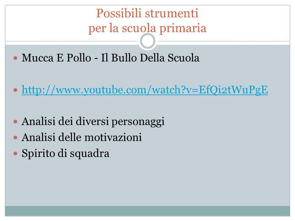 Possibili strumenti per la scuola primaria Mucca E Pollo - Il Bullo Della Scuola http://www.youtube.com/watch?v=EfQi2tWuPgE Analisi dei diversi person