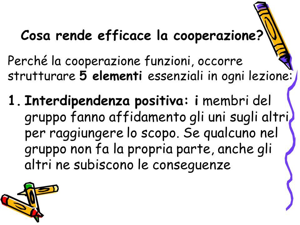Perché la cooperazione funzioni, occorre strutturare 5 elementi essenziali in ogni lezione: Cosa rende efficace la cooperazione? 1.Interdipendenza pos