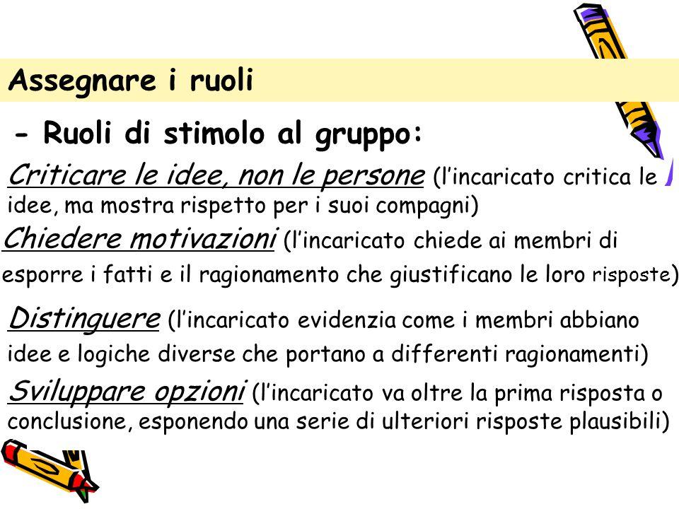Assegnare i ruoli - Ruoli di stimolo al gruppo: Criticare le idee, non le persone (l'incaricato critica le idee, ma mostra rispetto per i suoi compagn