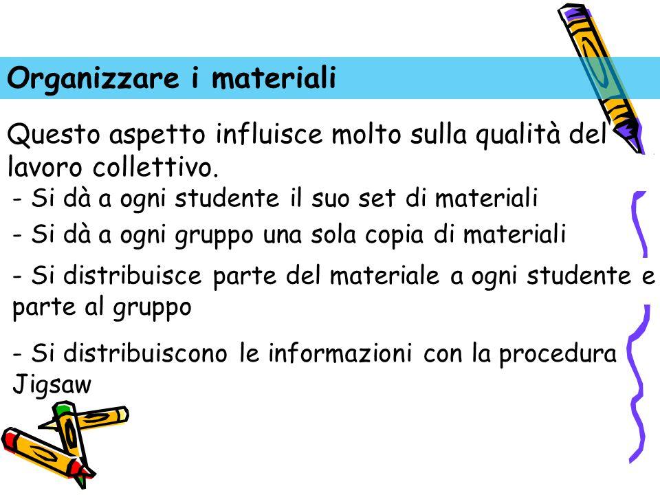 Organizzare i materiali - Si dà a ogni studente il suo set di materiali - Si dà a ogni gruppo una sola copia di materiali - Si distribuisce parte del