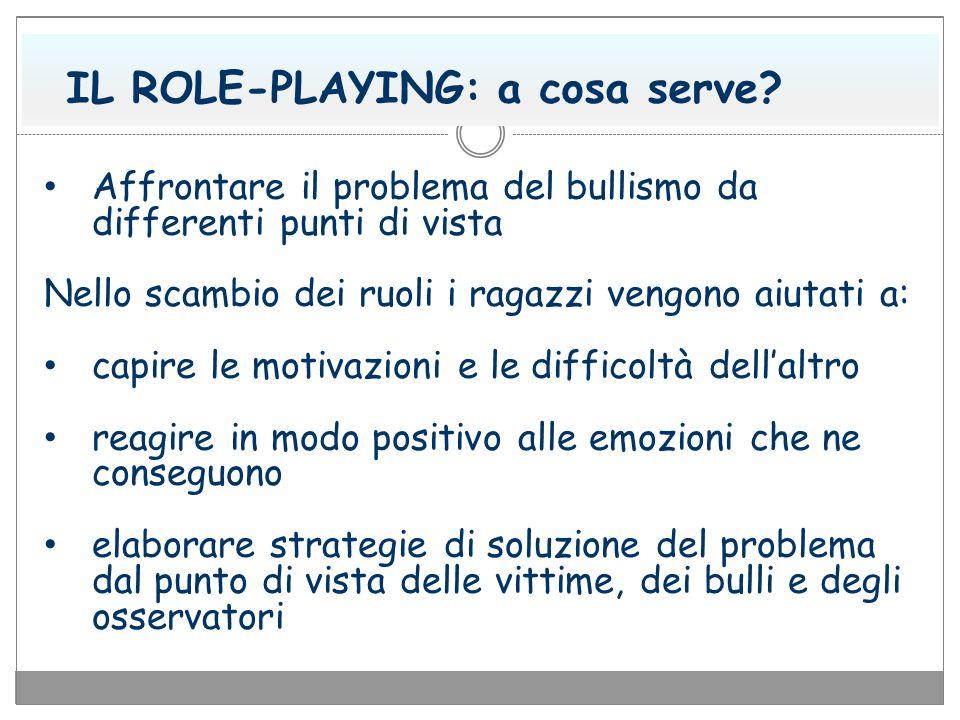 IL ROLE-PLAYING: a cosa serve? Affrontare il problema del bullismo da differenti punti di vista Nello scambio dei ruoli i ragazzi vengono aiutati a: c