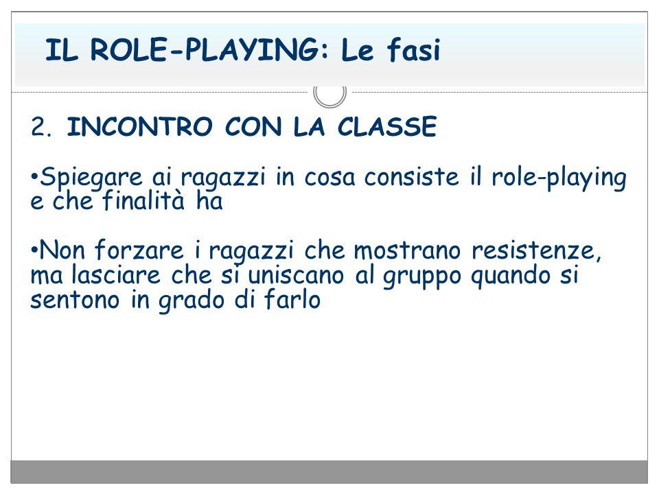 IL ROLE-PLAYING: Le fasi 2. INCONTRO CON LA CLASSE Spiegare ai ragazzi in cosa consiste il role-playing e che finalità ha Non forzare i ragazzi che mo