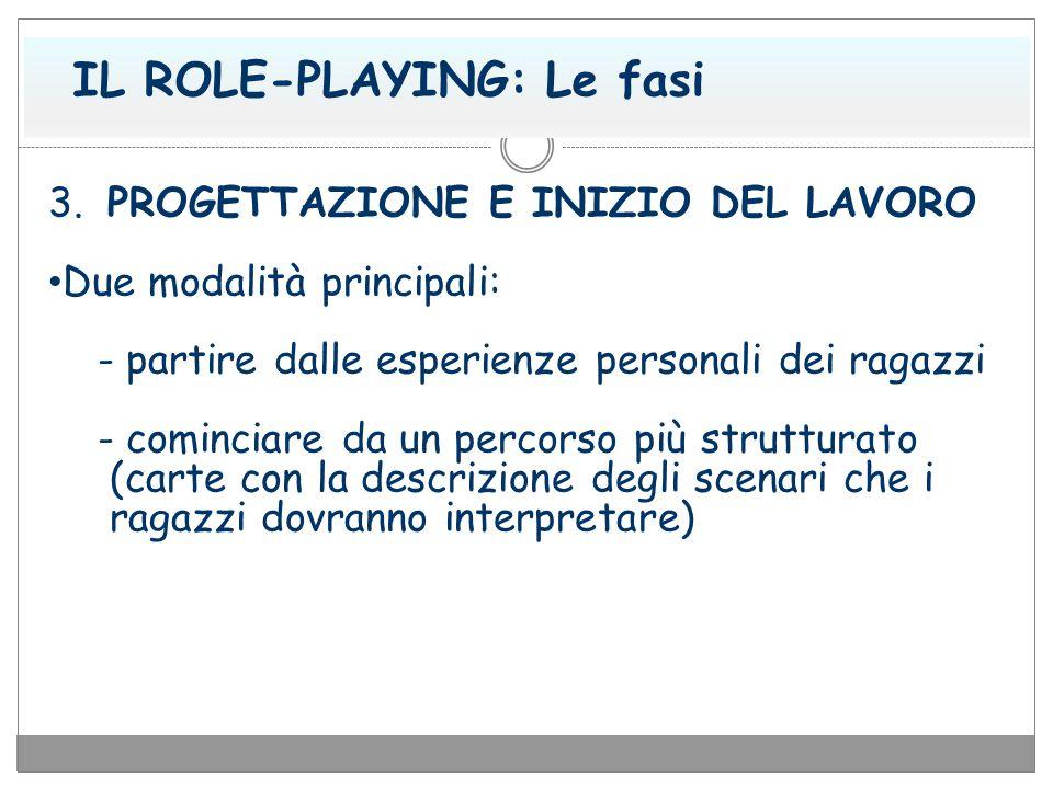 IL ROLE-PLAYING: Le fasi 3. PROGETTAZIONE E INIZIO DEL LAVORO Due modalità principali: - partire dalle esperienze personali dei ragazzi - cominciare d