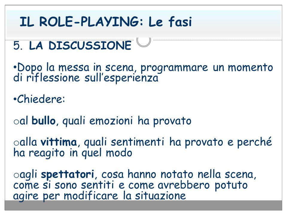 IL ROLE-PLAYING: Le fasi 5. LA DISCUSSIONE Dopo la messa in scena, programmare un momento di riflessione sull'esperienza Chiedere: o al bullo, quali e