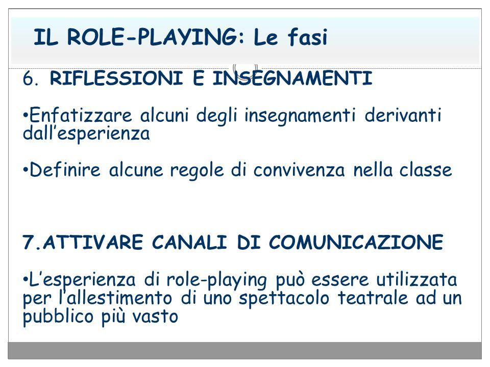 IL ROLE-PLAYING: Le fasi 6. RIFLESSIONI E INSEGNAMENTI Enfatizzare alcuni degli insegnamenti derivanti dall'esperienza Definire alcune regole di convi