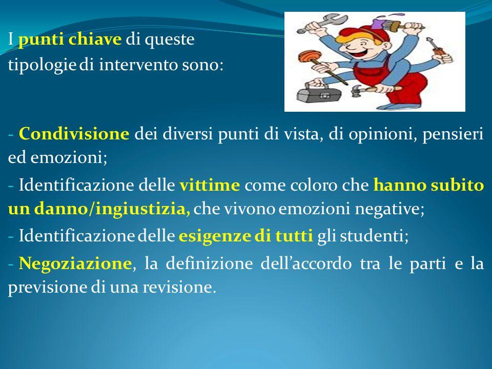 I punti chiave di queste tipologie di intervento sono: - Condivisione dei diversi punti di vista, di opinioni, pensieri ed emozioni; - Identificazione