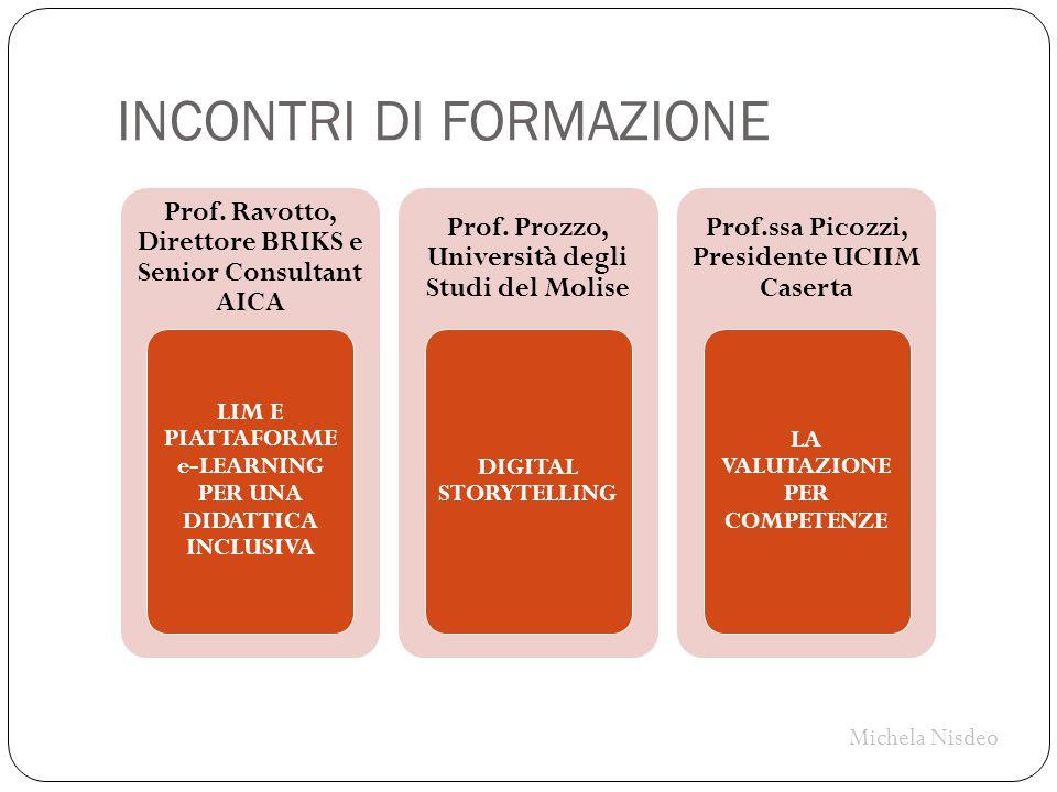 INCONTRI DI FORMAZIONE Prof. Ravotto, Direttore BRIKS e Senior Consultant AICA LIM E PIATTAFORME e-LEARNING PER UNA DIDATTICA INCLUSIVA Prof. Prozzo,
