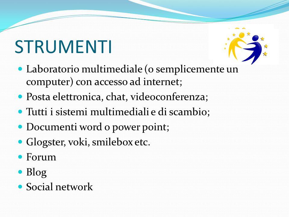 STRUMENTI Laboratorio multimediale (o semplicemente un computer) con accesso ad internet; Posta elettronica, chat, videoconferenza; Tutti i sistemi mu