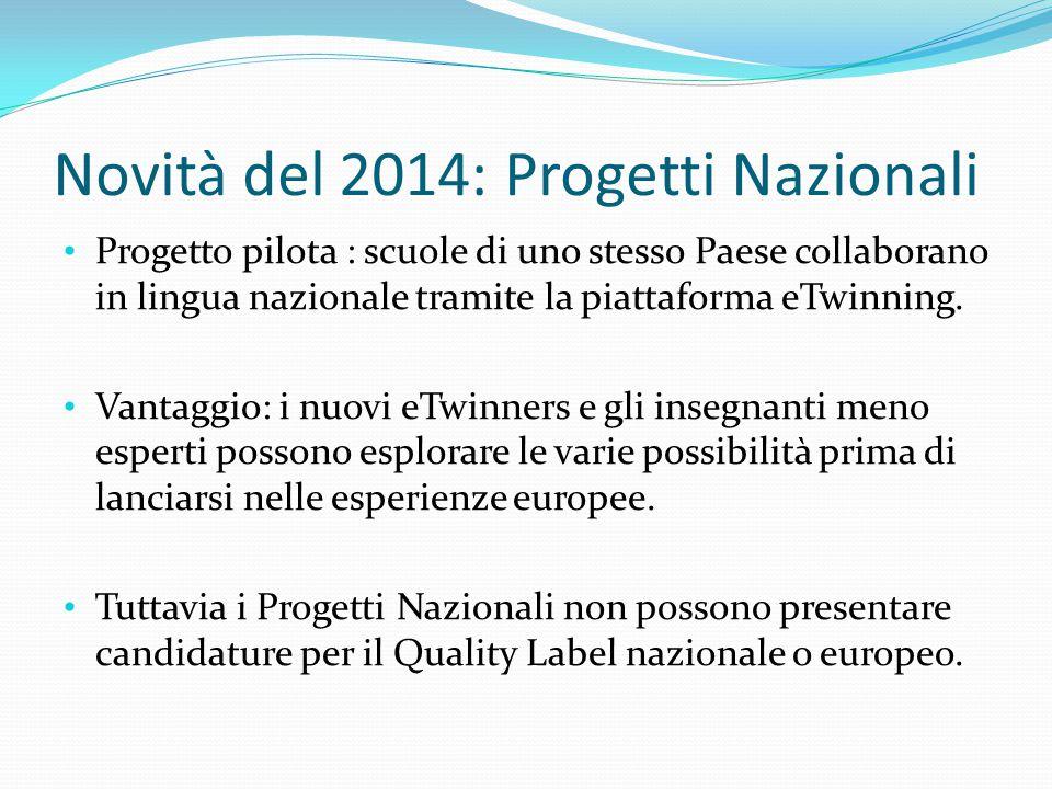Novità del 2014: Progetti Nazionali Progetto pilota : scuole di uno stesso Paese collaborano in lingua nazionale tramite la piattaforma eTwinning. Van