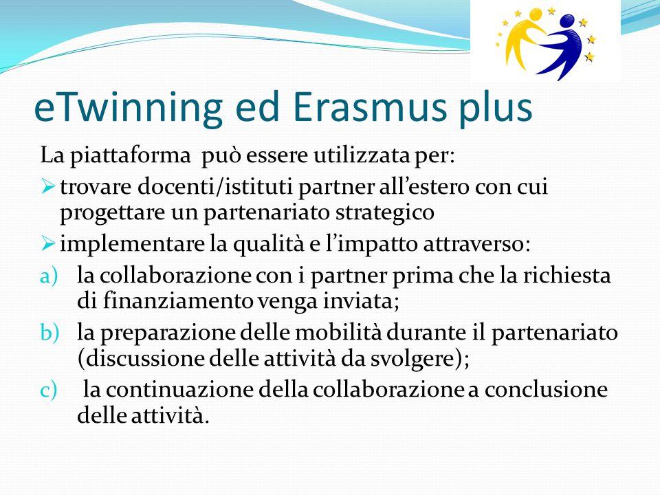 eTwinning ed Erasmus plus La piattaforma può essere utilizzata per:  trovare docenti/istituti partner all'estero con cui progettare un partenariato s