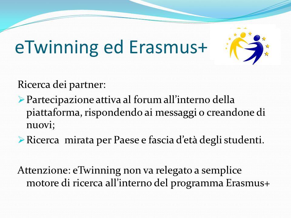 eTwinning ed Erasmus+ Ricerca dei partner:  Partecipazione attiva al forum all'interno della piattaforma, rispondendo ai messaggi o creandone di nuov