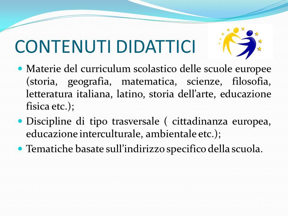 CONTENUTI DIDATTICI Materie del curriculum scolastico delle scuole europee (storia, geografia, matematica, scienze, filosofia, letteratura italiana, l