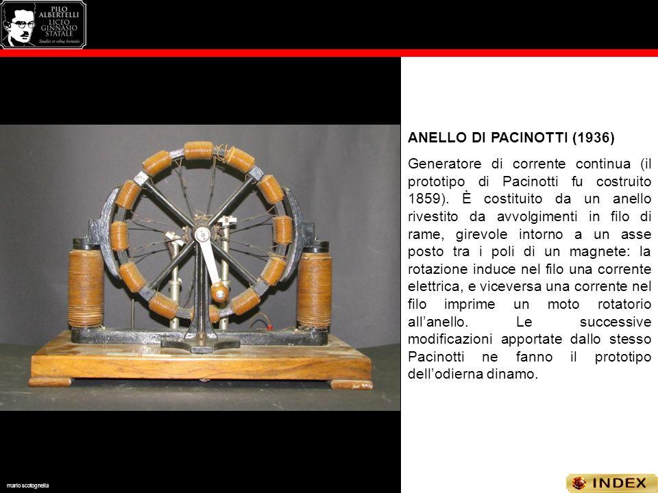 ANELLO DI PACINOTTI (1936) Generatore di corrente continua (il prototipo di Pacinotti fu costruito 1859). È costituito da un anello rivestito da avvol