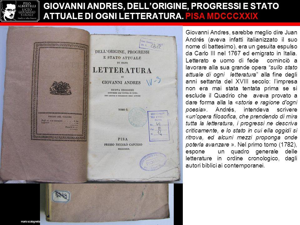GIOVANNI ANDRES, DELL'ORIGINE, PROGRESSI E STATO ATTUALE DI OGNI LETTERATURA.