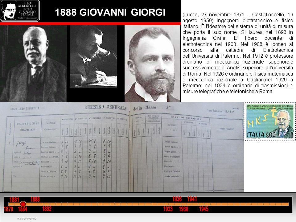 1888 GIOVANNI GIORGI (Lucca, 27 novembre 1871 – Castiglioncello, 19 agosto 1950) ingegnere elettrotecnico e fisico italiano. È l'ideatore del sistema