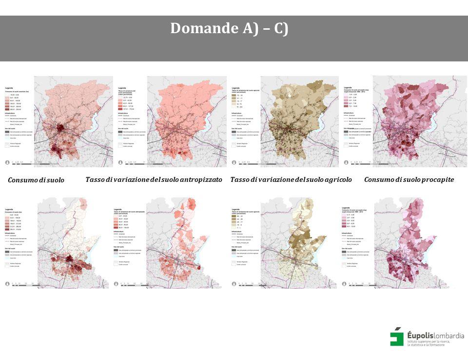 Consumo di suolo procapite in provincia di Brescia (sx) e Bergamo (dx) Domande A) – C)