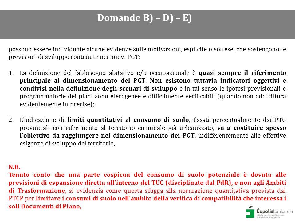DUSAF 4.0 (2012) classe 1 Aree antropizzate esclusa la classe 1412 (aree verdi incolte) Domande B) – D) – E)