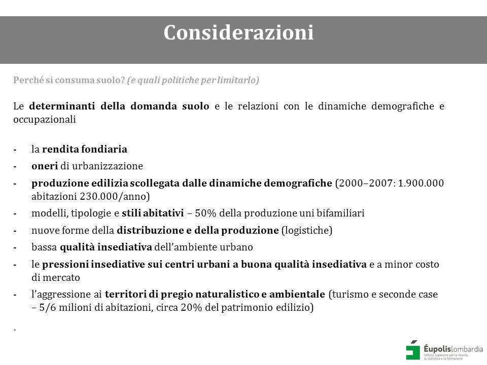Priorità e politiche combinate per contenere il consumo di suolo.