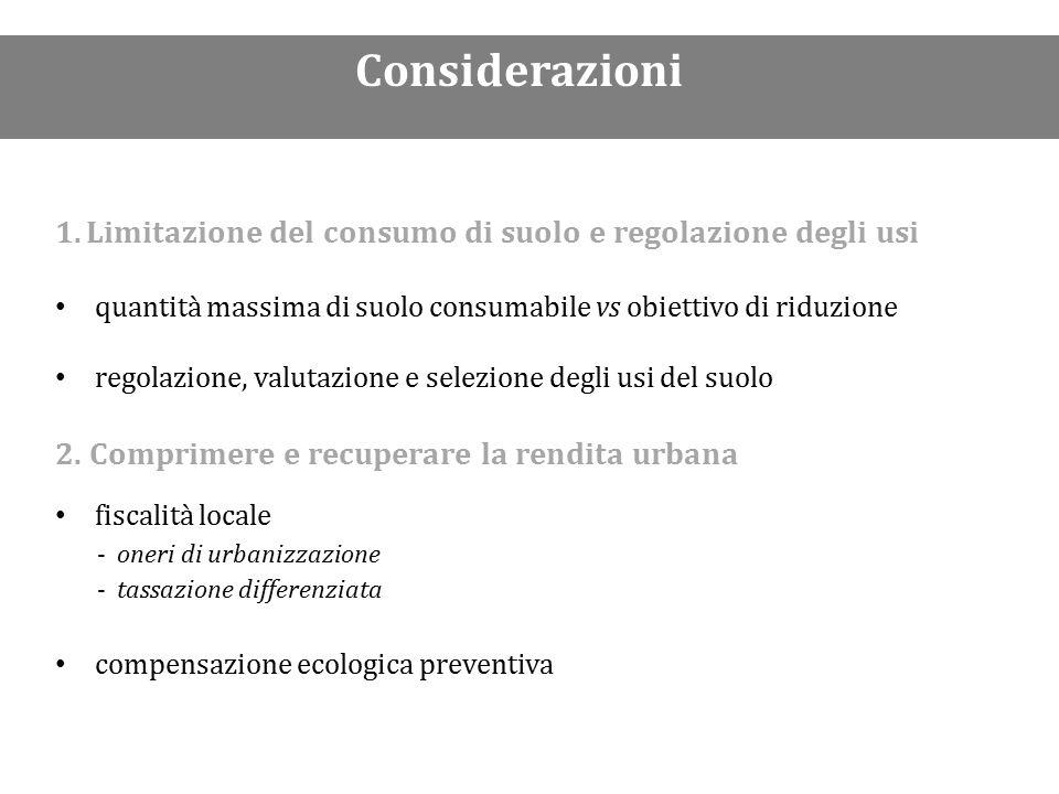 1.Limitazione del consumo di suolo e regolazione degli usi quantità massima di suolo consumabile vs obiettivo di riduzione regolazione, valutazione e selezione degli usi del suolo 2.