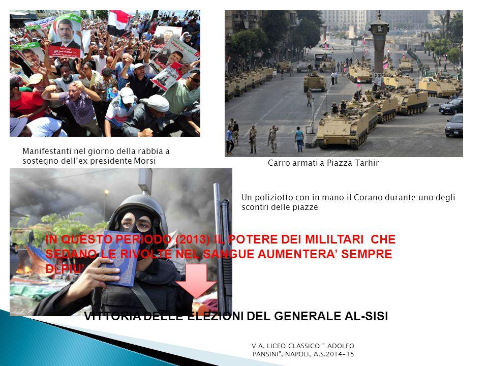 Manifestanti nel giorno della rabbia a sostegno dell'ex presidente Morsi Carro armati a Piazza Tarhir Un poliziotto con in mano il Corano durante uno degli scontri delle piazze IN QUESTO PERIODO (2013) IL POTERE DEI MILILTARI CHE SEDANO LE RIVOLTE NEL SANGUE AUMENTERA' SEMPRE DI PIU' VITTORIA DELLE ELEZIONI DEL GENERALE AL-SISI V A, LICEO CLASSICO ADOLFO PANSINI , NAPOLI, A.S.2014-15