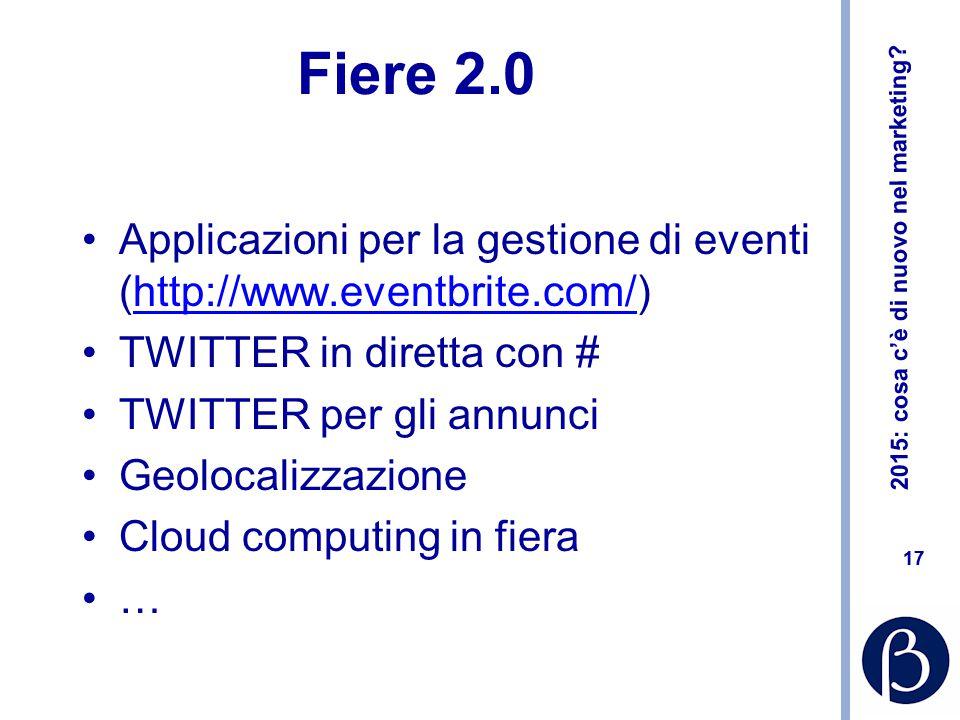 2015: cosa c'è di nuovo nel marketing? 17 Fiere 2.0 Applicazioni per la gestione di eventi (http://www.eventbrite.com/)http://www.eventbrite.com/ TWIT