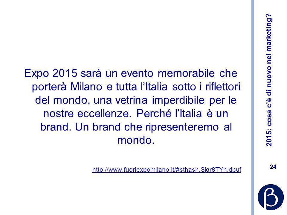 2015: cosa c'è di nuovo nel marketing? 24 Expo 2015 sarà un evento memorabile che porterà Milano e tutta l'Italia sotto i riflettori del mondo, una ve