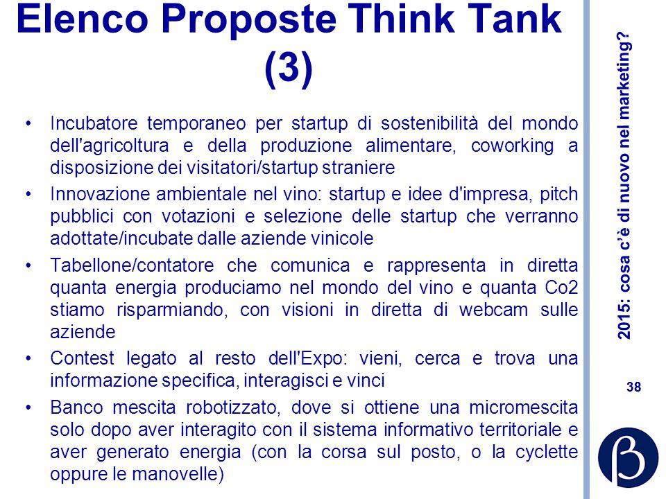 2015: cosa c'è di nuovo nel marketing? 38 Elenco Proposte Think Tank (3) Incubatore temporaneo per startup di sostenibilità del mondo dell'agricoltura