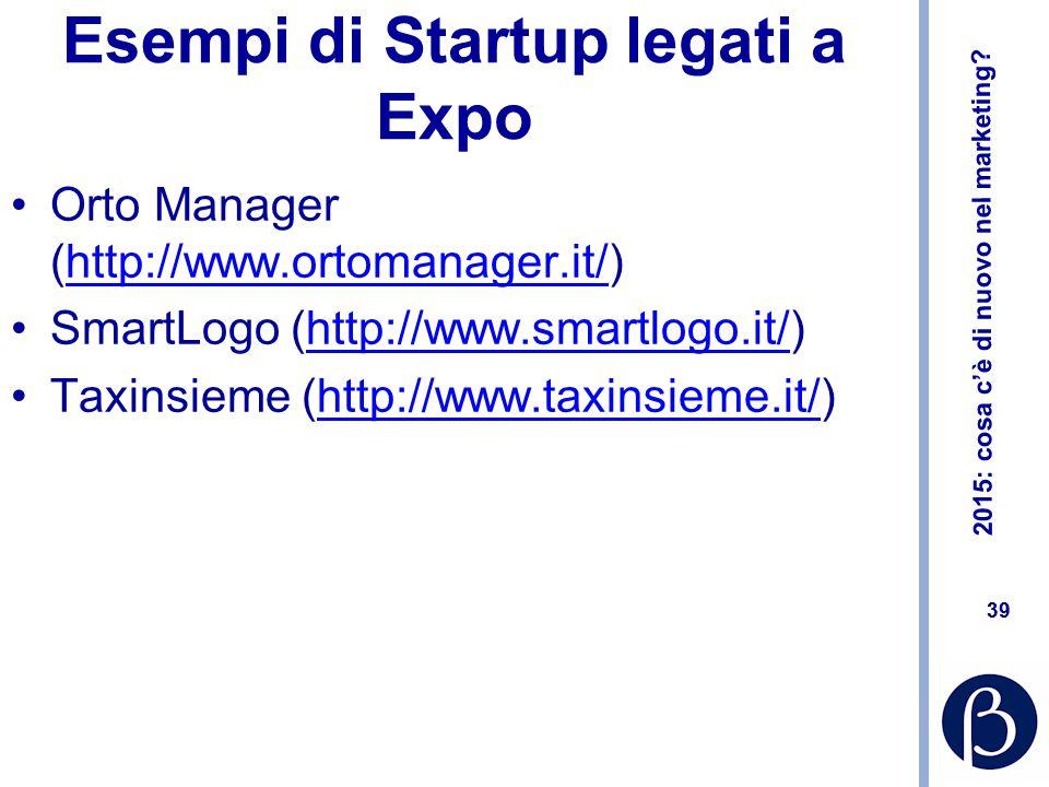 2015: cosa c'è di nuovo nel marketing? 39 Esempi di Startup legati a Expo Orto Manager (http://www.ortomanager.it/)http://www.ortomanager.it/ SmartLog