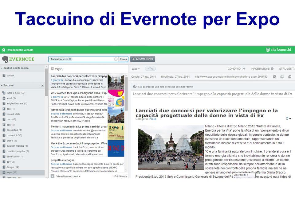 Taccuino di Evernote per Expo