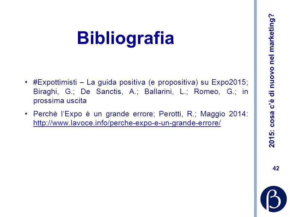 2015: cosa c'è di nuovo nel marketing? 42 Bibliografia #Expottimisti – La guida positiva (e propositiva) su Expo2015; Biraghi, G.; De Sanctis, A.; Bal