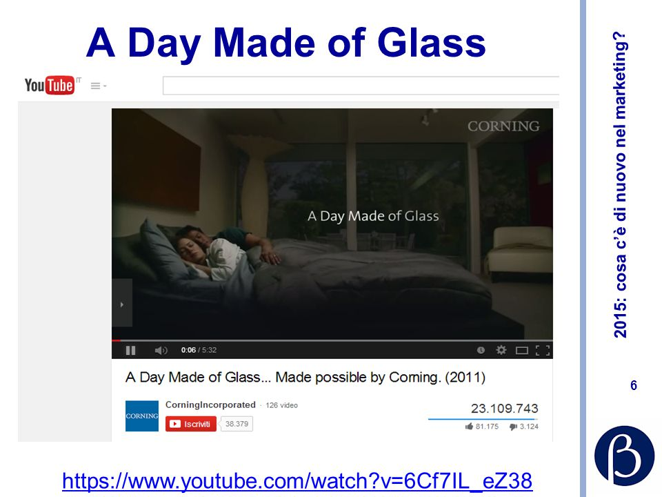 2015: cosa c'è di nuovo nel marketing? 6 6 A Day Made of Glass https://www.youtube.com/watch?v=6Cf7IL_eZ38