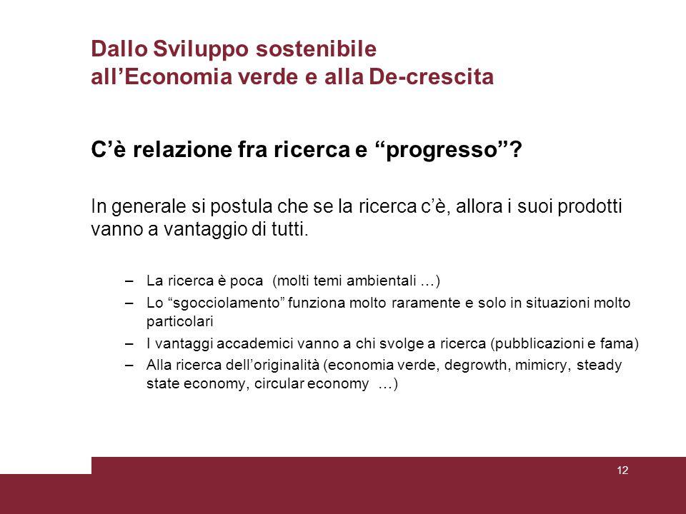 Dallo Sviluppo sostenibile all'Economia verde e alla De-crescita C'è relazione fra ricerca e progresso .