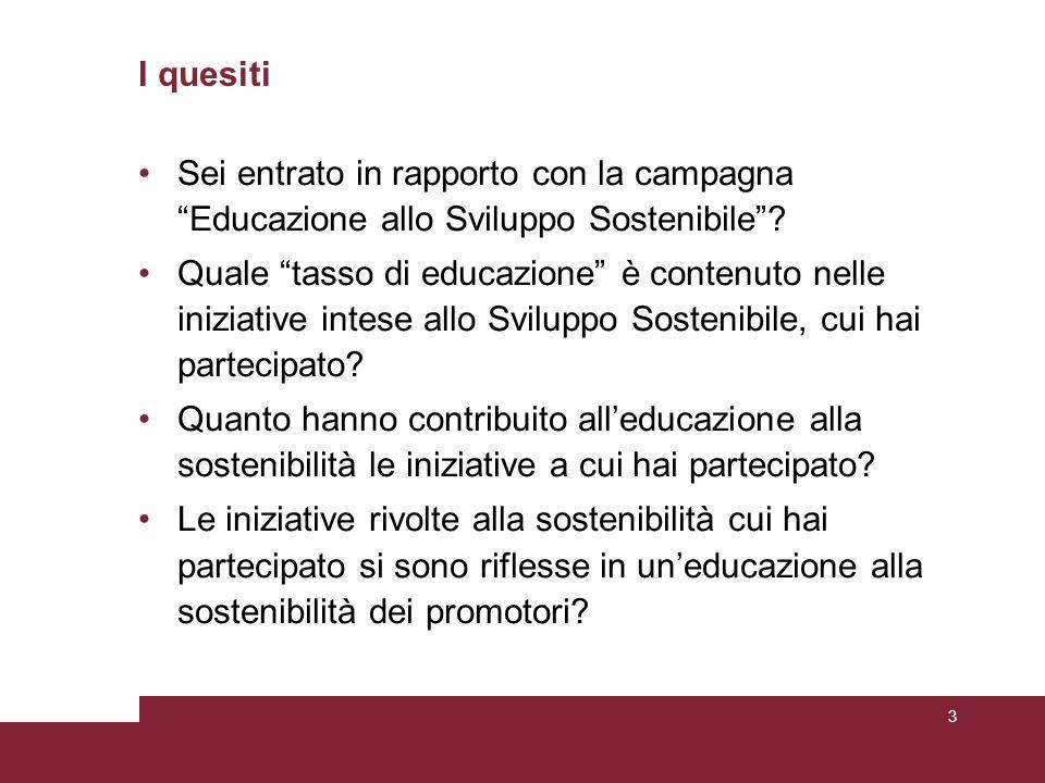 I quesiti Sei entrato in rapporto con la campagna Educazione allo Sviluppo Sostenibile .