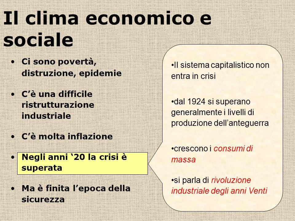 Il clima economico e sociale Il sistema capitalistico non entra in crisi dal 1924 si superano generalmente i livelli di produzione dell'anteguerra cre