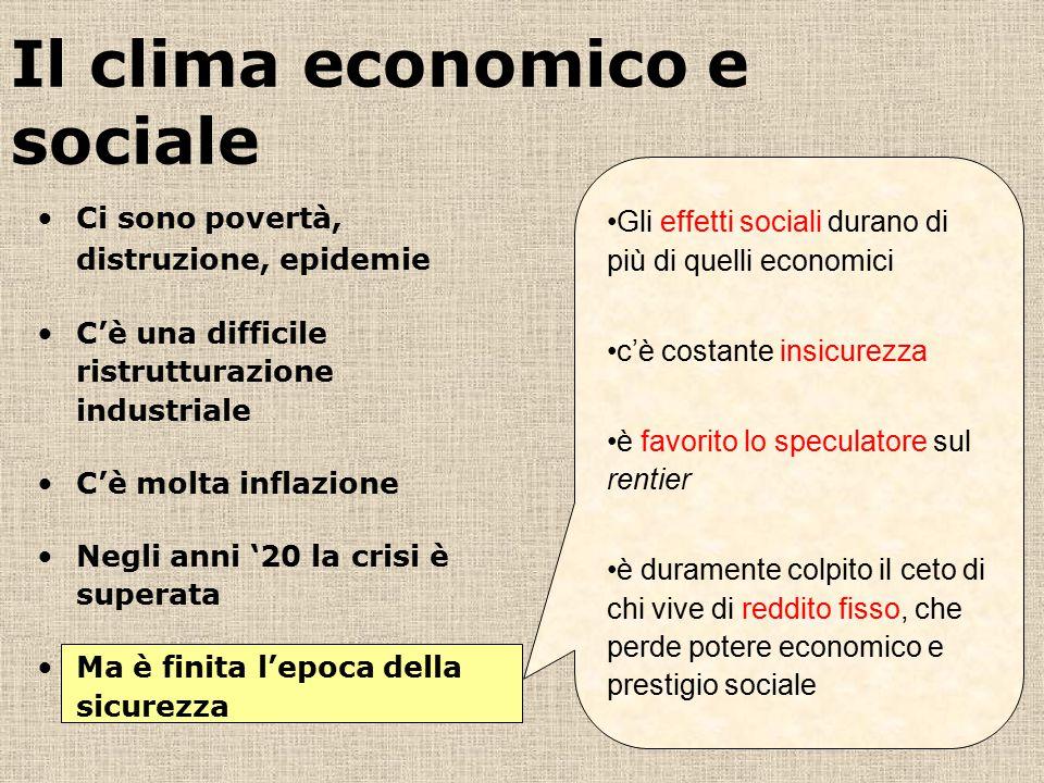 Il clima economico e sociale Gli effetti sociali durano di più di quelli economici c'è costante insicurezza è favorito lo speculatore sul rentier è du