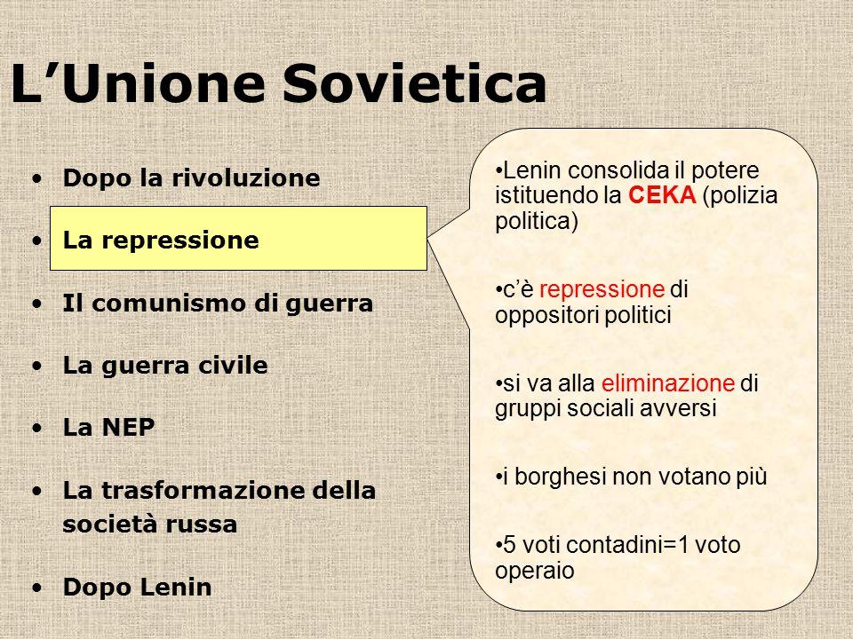 L'Unione Sovietica Lenin consolida il potere istituendo la CEKA (polizia politica) c'è repressione di oppositori politici si va alla eliminazione di g