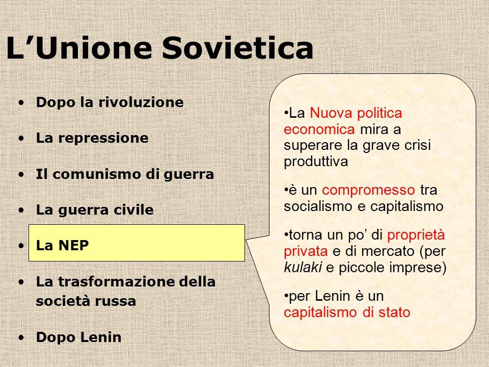 L'Unione Sovietica La Nuova politica economica mira a superare la grave crisi produttiva è un compromesso tra socialismo e capitalismo torna un po' di