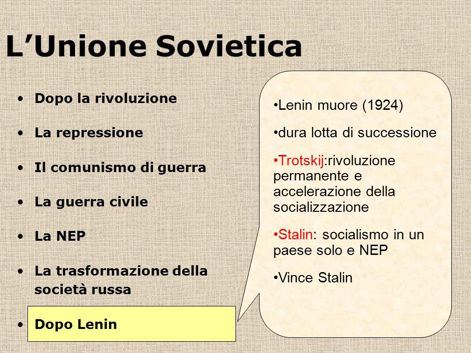 L'Unione Sovietica Lenin muore (1924) dura lotta di successione Trotskij:rivoluzione permanente e accelerazione della socializzazione Stalin: socialismo in un paese solo e NEP Vince Stalin Dopo la rivoluzione La repressione Il comunismo di guerra La guerra civile La NEP La trasformazione della società russa Dopo Lenin