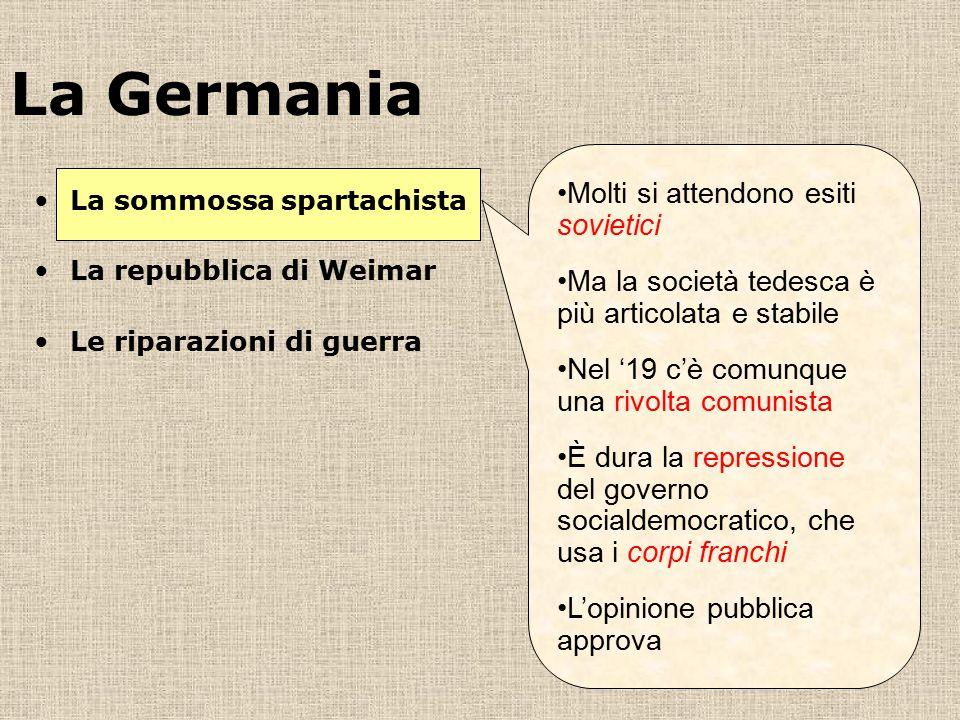 La Germania Molti si attendono esiti sovietici Ma la società tedesca è più articolata e stabile Nel '19 c'è comunque una rivolta comunista È dura la r