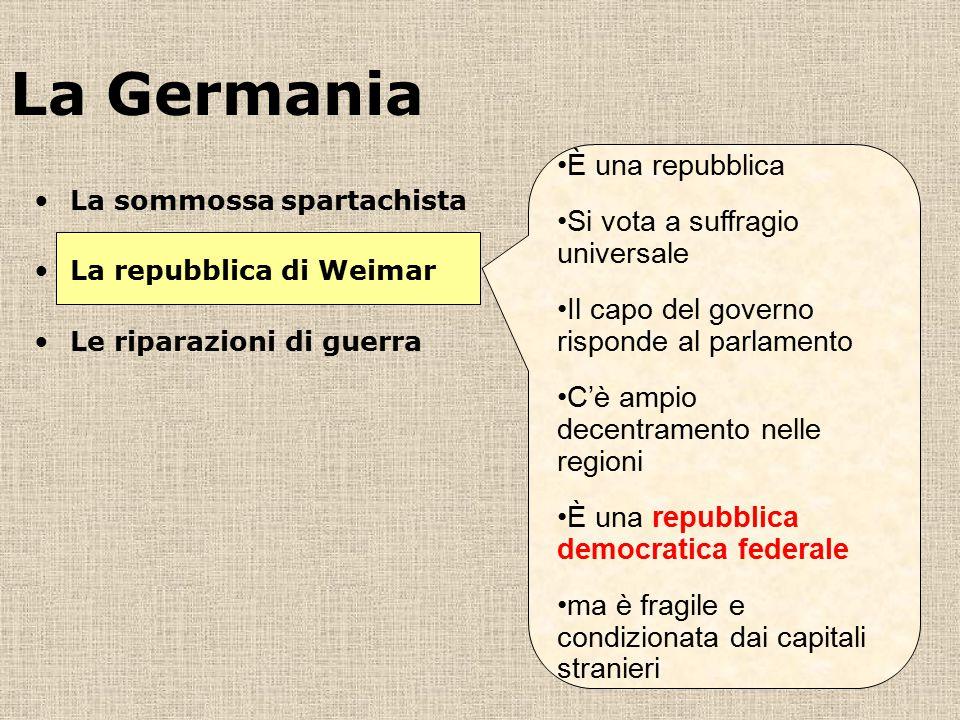 La Germania È una repubblica Si vota a suffragio universale Il capo del governo risponde al parlamento C'è ampio decentramento nelle regioni È una rep