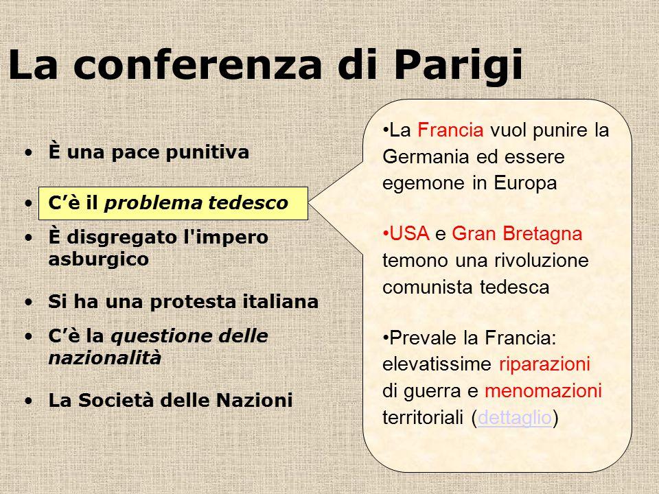 La conferenza di Parigi La Francia vuol punire la Germania ed essere egemone in Europa USA e Gran Bretagna temono una rivoluzione comunista tedesca Pr