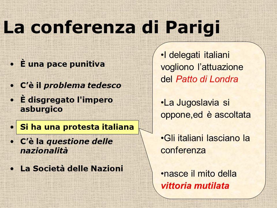 La conferenza di Parigi I delegati italiani vogliono l'attuazione del Patto di Londra La Jugoslavia si oppone,ed è ascoltata Gli italiani lasciano la