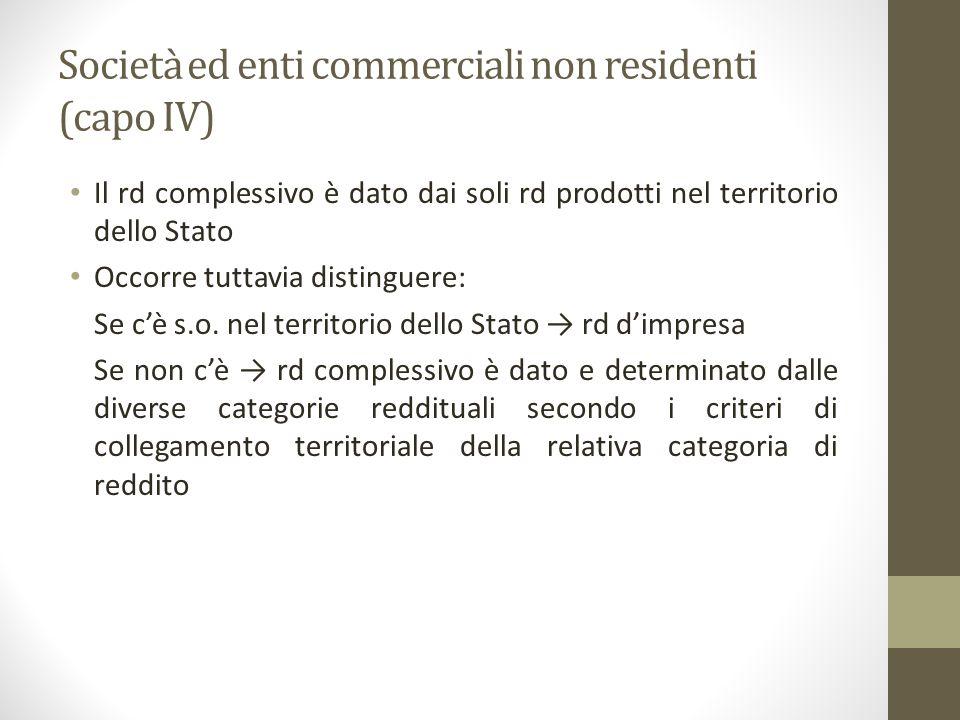 Società ed enti commerciali non residenti (capo IV) Il rd complessivo è dato dai soli rd prodotti nel territorio dello Stato Occorre tuttavia distingu