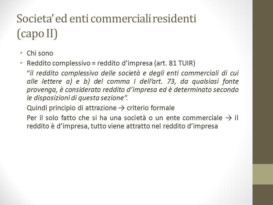 """Societa' ed enti commerciali residenti (capo II) Chi sono Reddito complessivo = reddito d'impresa (art. 81 TUIR) """"il reddito complessivo delle società"""