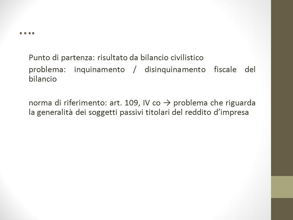 …. Punto di partenza: risultato da bilancio civilistico problema: inquinamento / disinquinamento fiscale del bilancio norma di riferimento: art. 109,