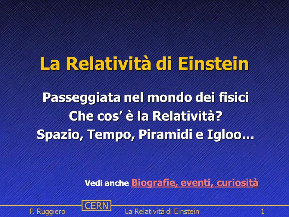Name Event Date Name Event Date 1 CERN F. Ruggiero à La Relatività di Einstein1 La Relatività di Einstein Passeggiata nel mondo dei fisici Che cos' è
