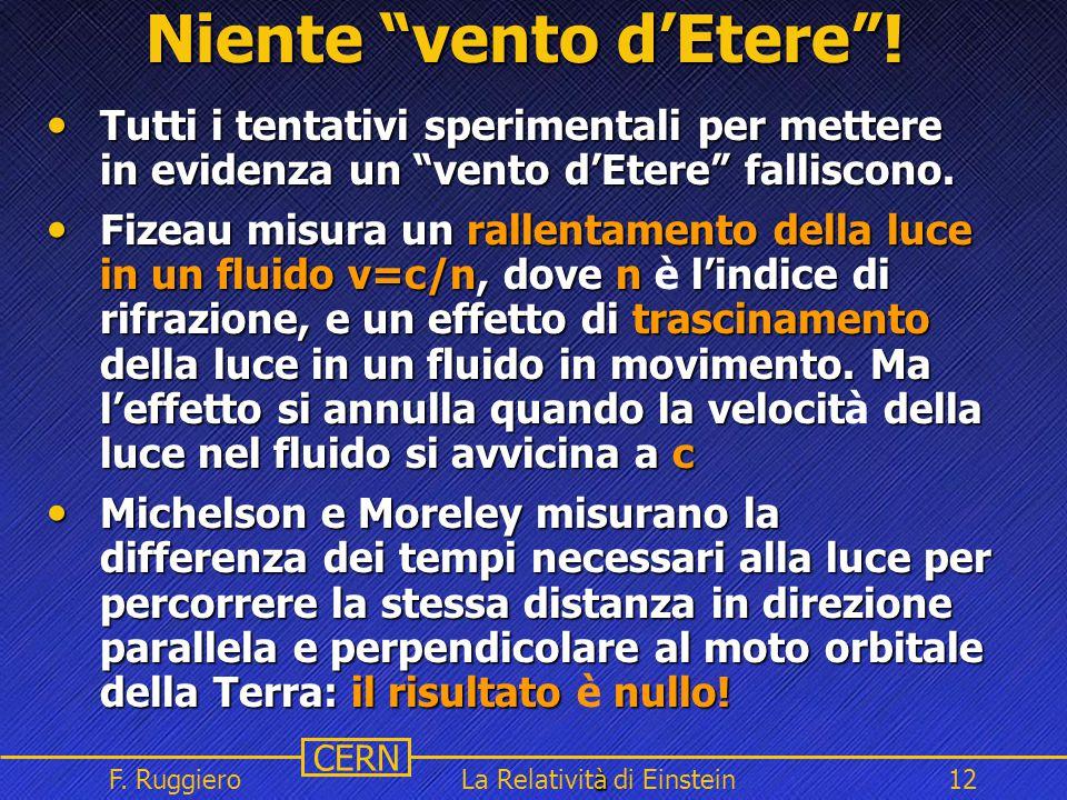 """Name Event Date Name Event Date 12 CERN F. Ruggiero à La Relatività di Einstein12 Niente """"vento d'Etere""""! Tutti i tentativi sperimentali per mettere i"""